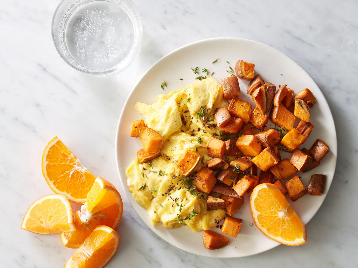 Breakfast: Sweet Potato Home Fries with Eggs