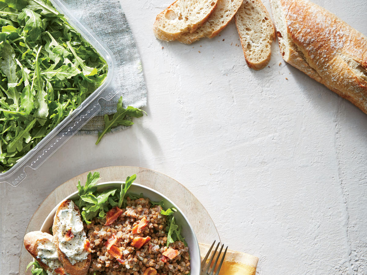 Warm Bacon-Dijon Lentil Salad with Goat Cheese Crostini