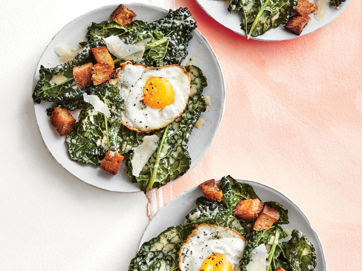 Kale Buttermilk Caesar with Frizzled Eggs