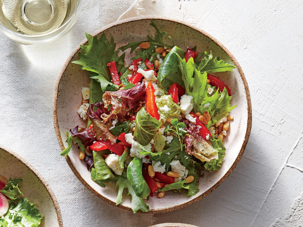 Roasted Red Pepper and Pine Nut Salad