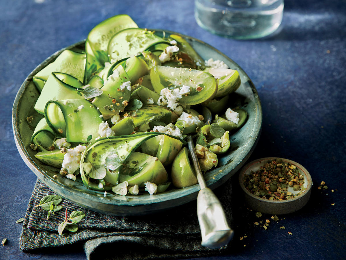 Shaved Cucumber Greek Salad