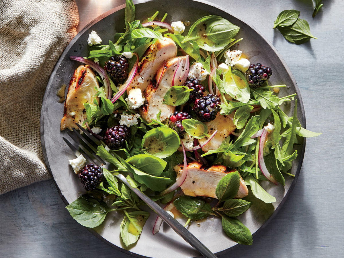 Basil, Blackberry, and Grilled Chicken Salad