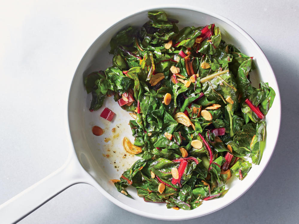 Almond-Garlic Swiss Chard