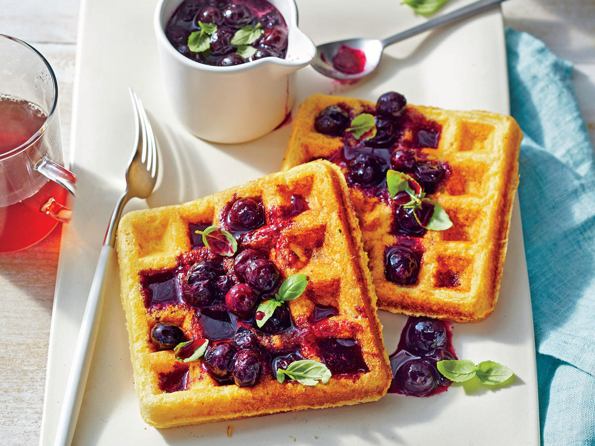 Cornmeal Waffles with Fresh Blueberry Compote