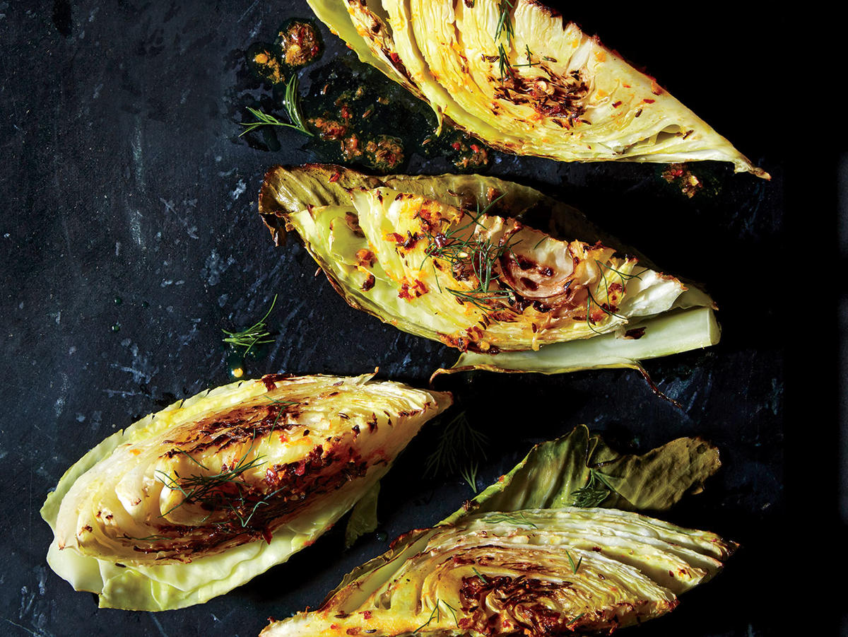 Roasted Cabbage Wedges with Orange and Caraway