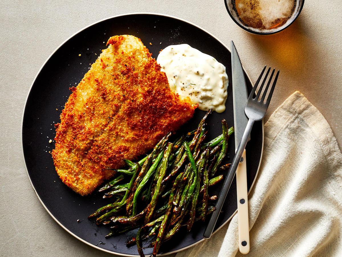 Air Fryer Southern Style Catfish With Green Beans