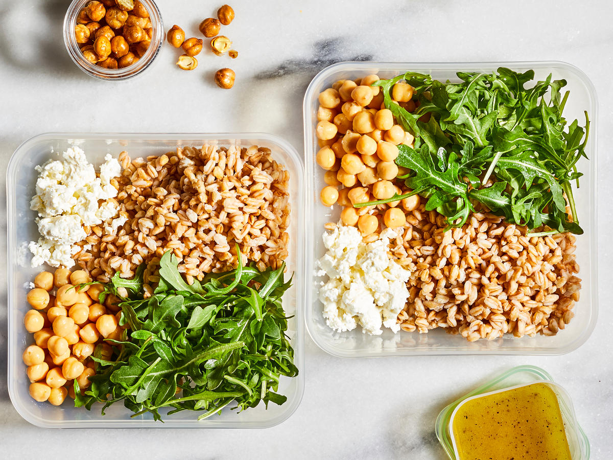 Farro, Chickpea, and Feta Salad Bowl