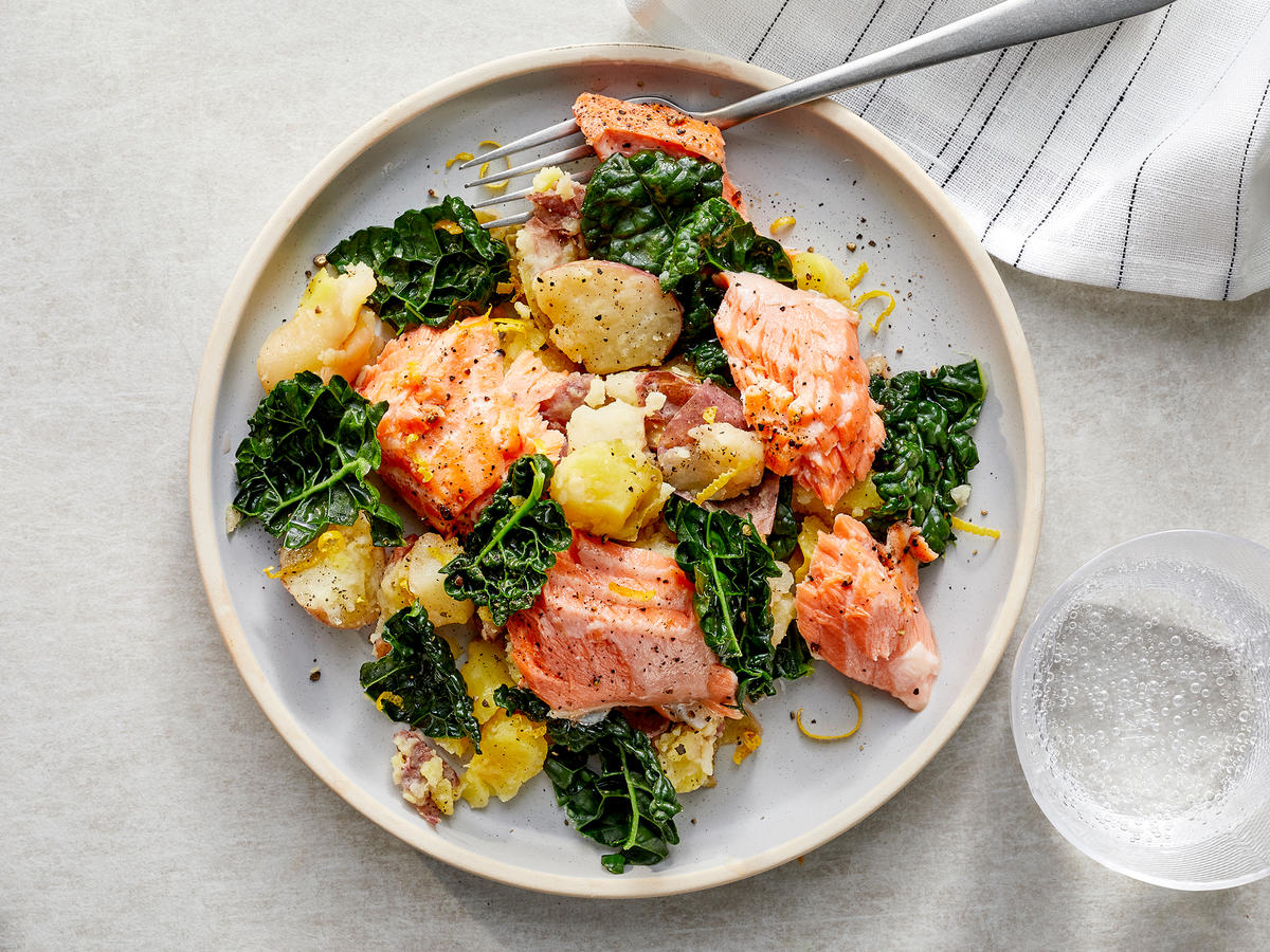 Instant Pot Lemon Salmon with Smashed Potatoes and Kale