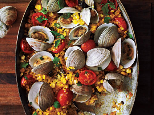 Best Paella with Poblanos, Corn, and Clams Recipe