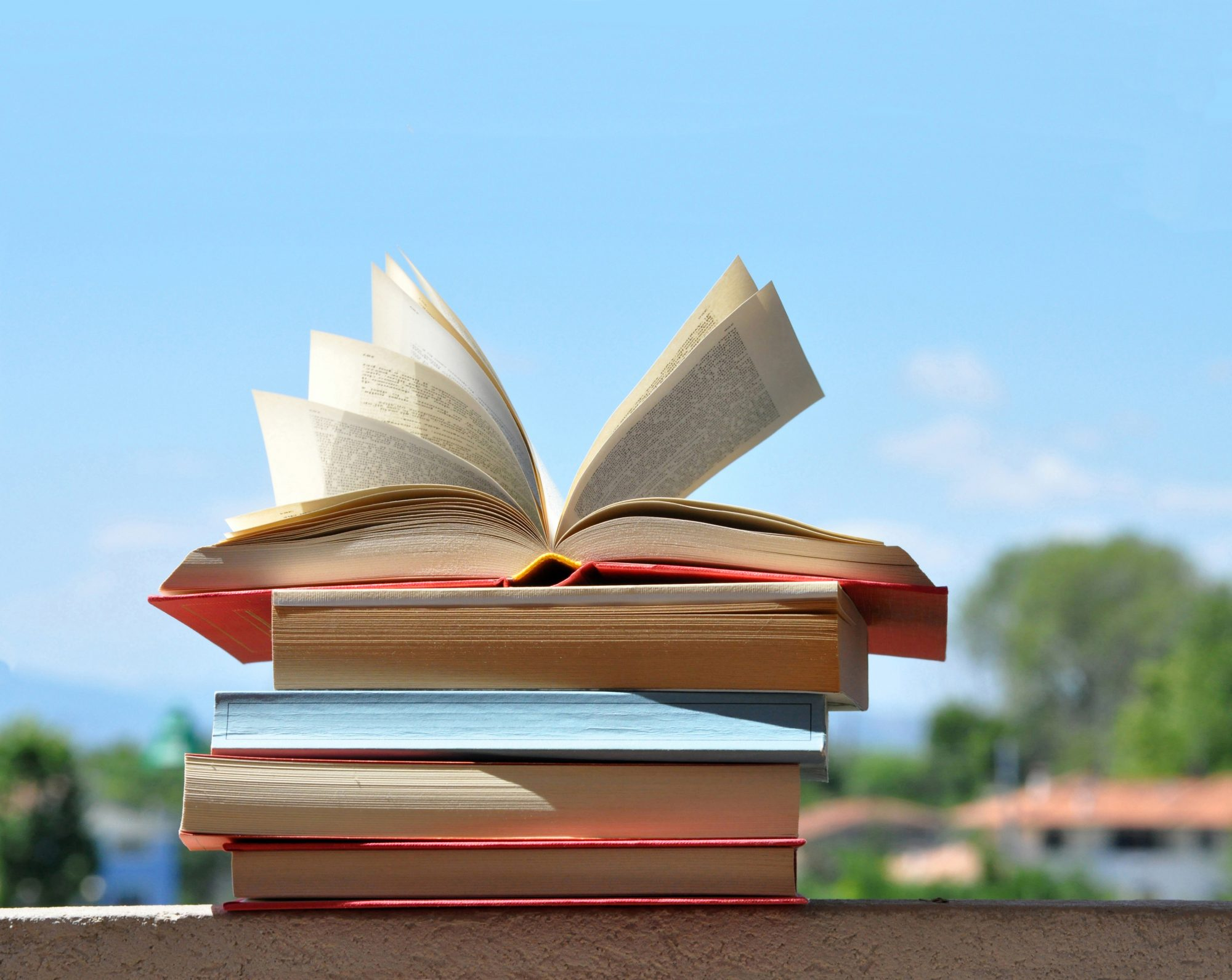 Books with Sky Background