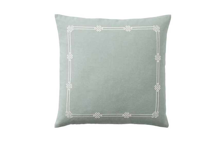 Emilia Embroidered Pillow Cover in Blue Smoke