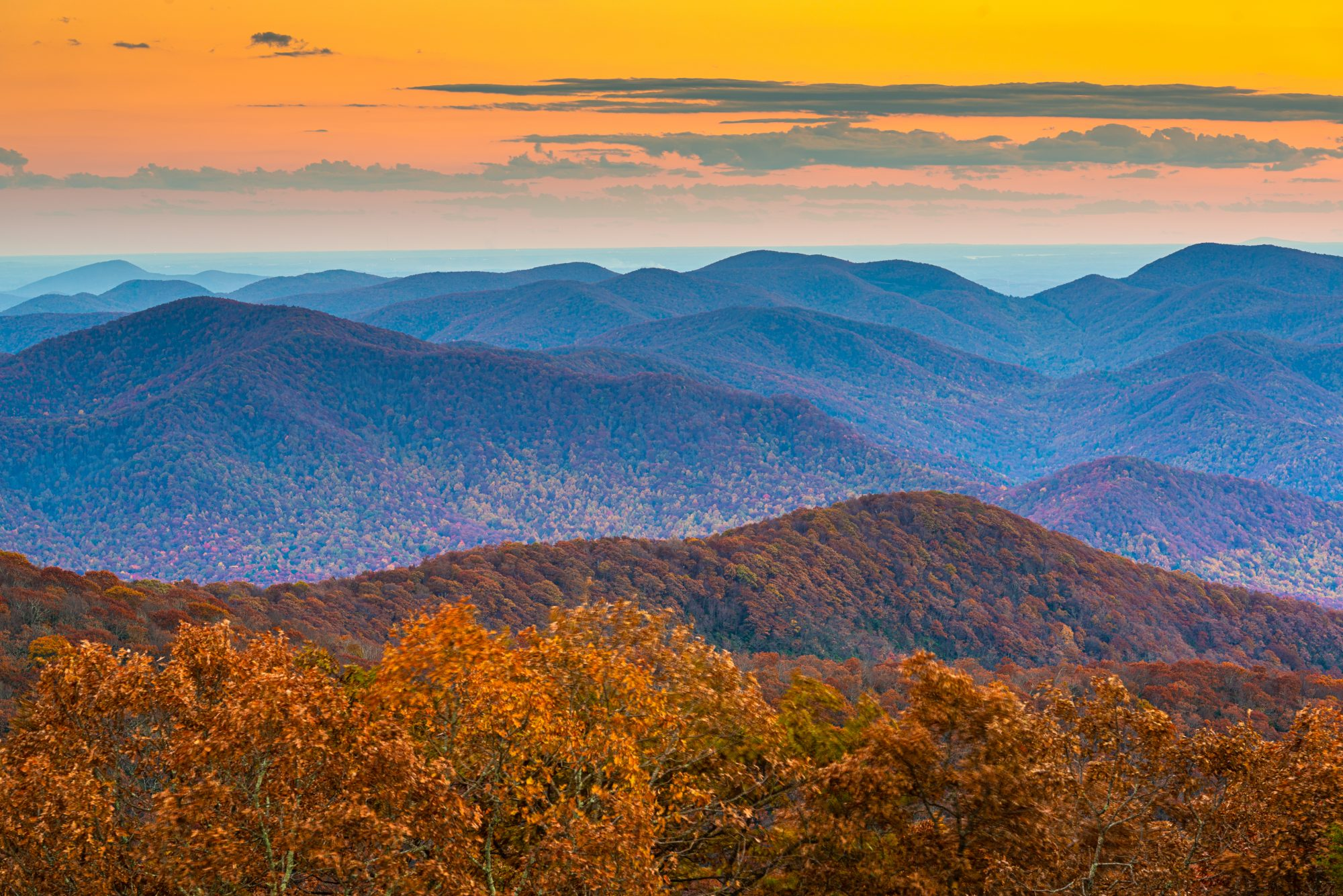 Brasstown Bald View of Blue Ridge Mountains at Sunset in North Georgia