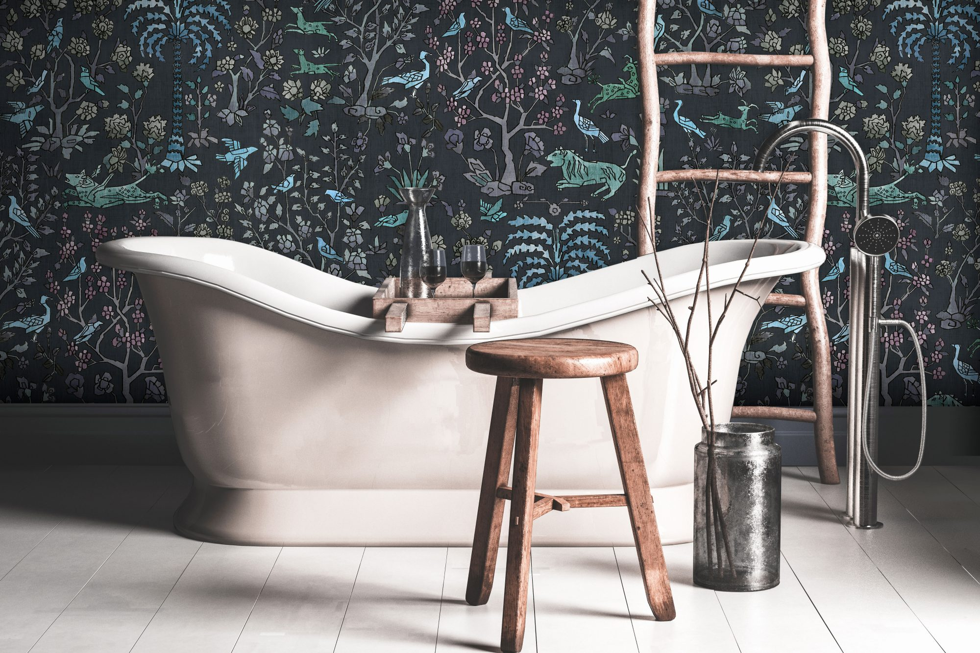 White Stand-Alone Bathtub with Dark Wallpaper Behind