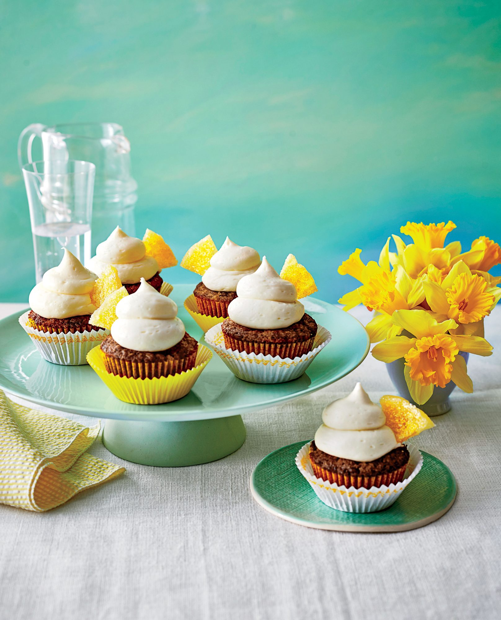 Hummingbird Cupcakes with Candied Pineapple Wedges