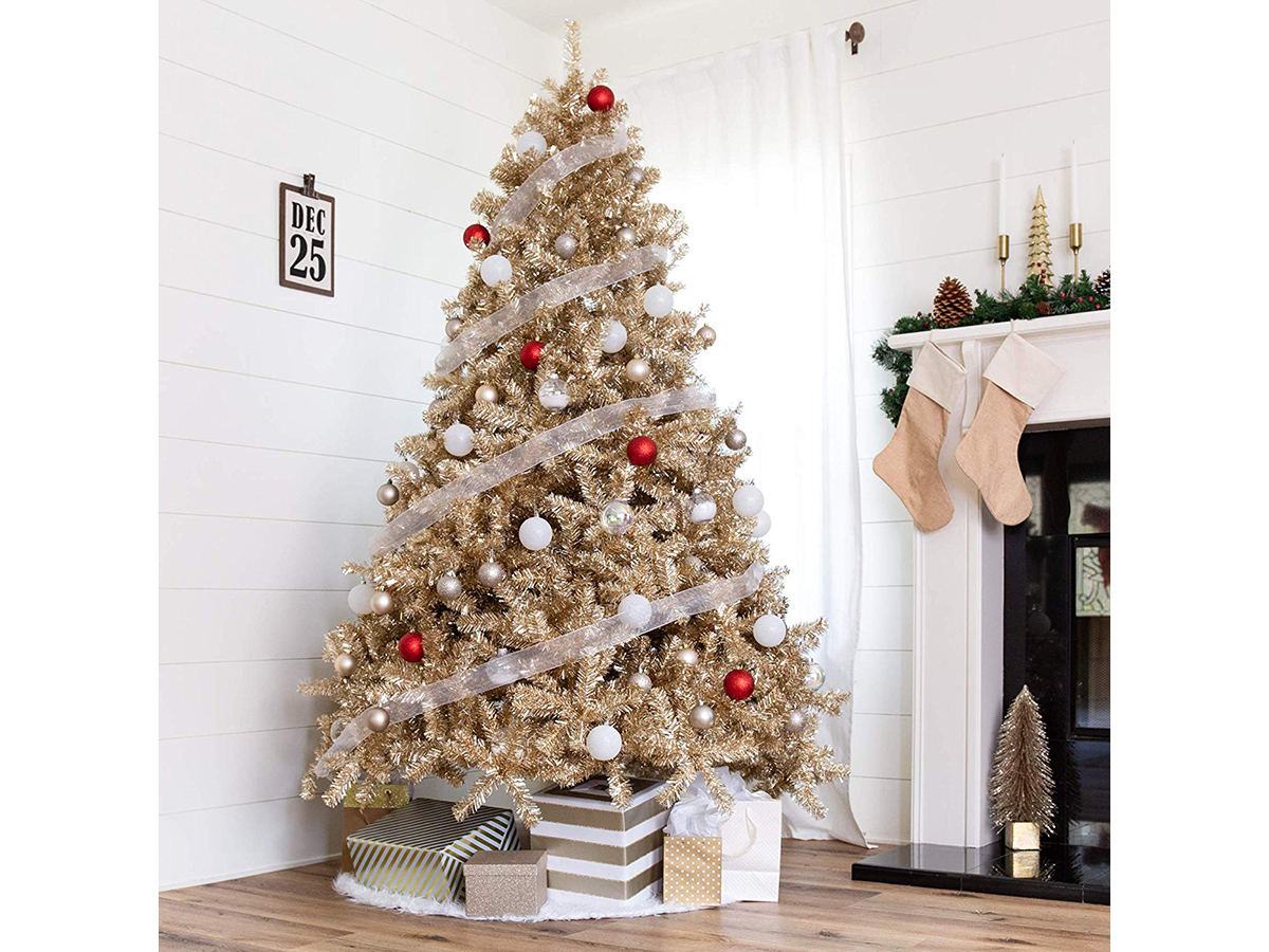 Best Choice Products 7.5ft Artificial Tinsel Christmas Tree Holiday Decoration
