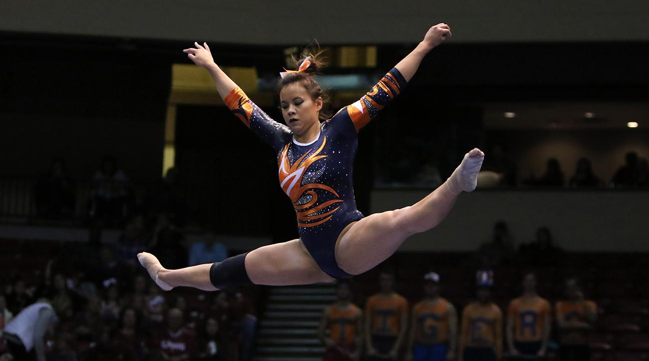 Auburn gymnast walks down aisle after knee injuries