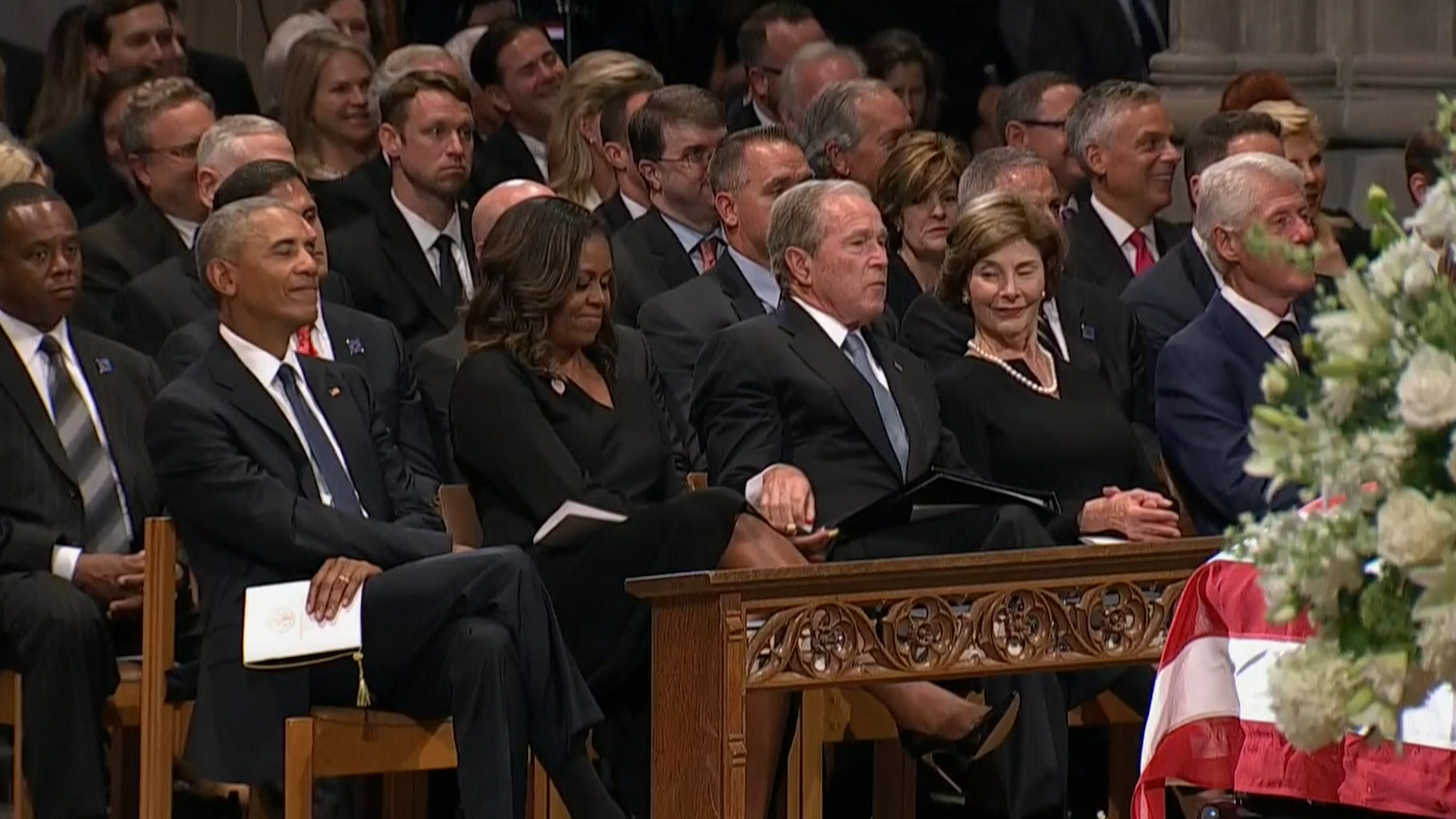 George Bush Slips Candy to Michelle Obama