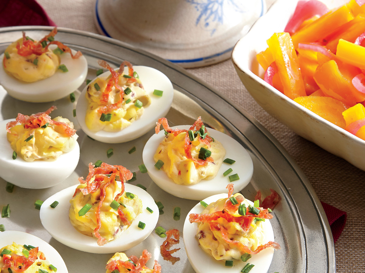 Muffuletta Deviled Eggs