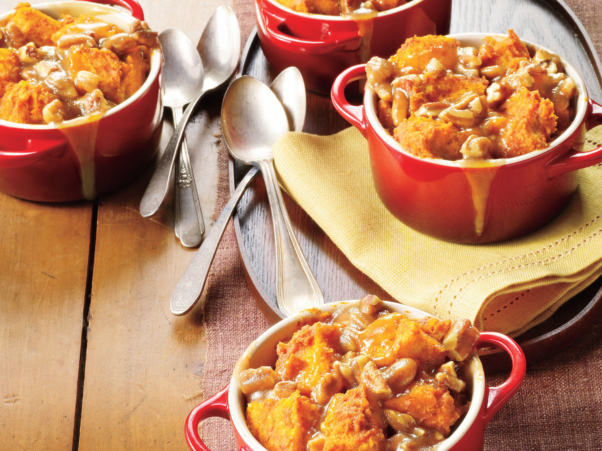 Southern Living Pumpkin Recipes: Caramel-Pecan-Pumpkin Bread Puddings