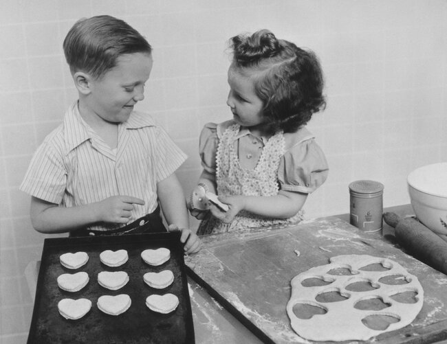 Kids Baking Heart Cookies