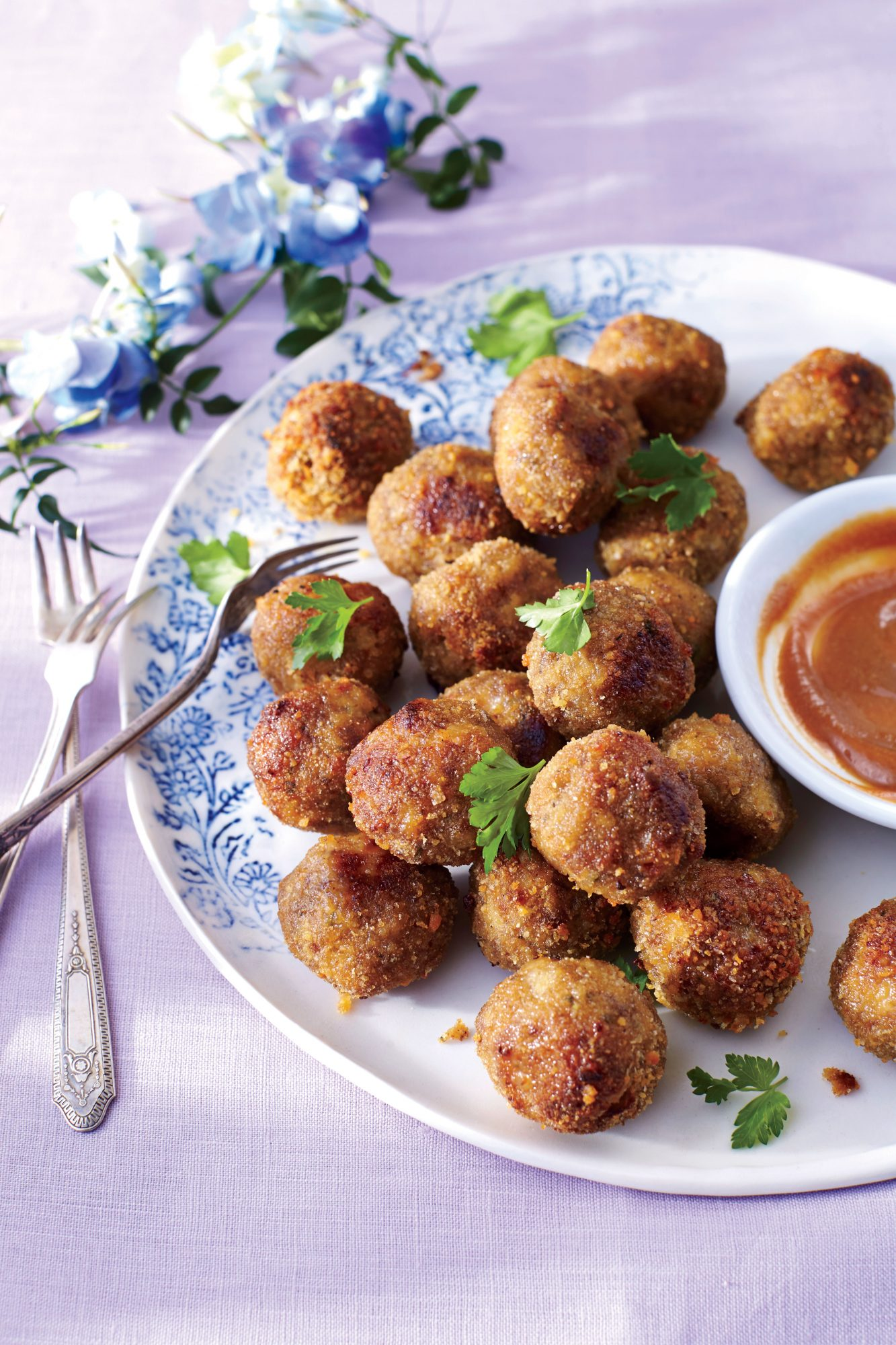 Breakfast Sausage Meatballs with Apple Butter Dipping Sauce