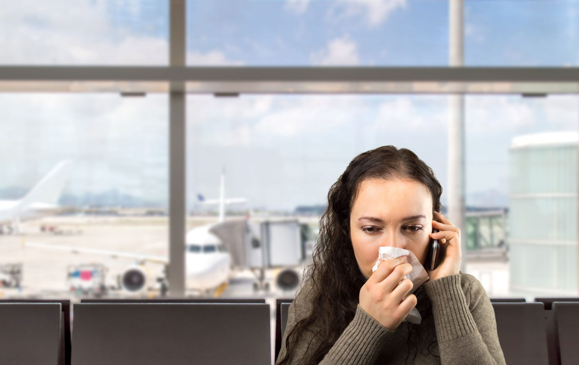 Sick Woman at Airport