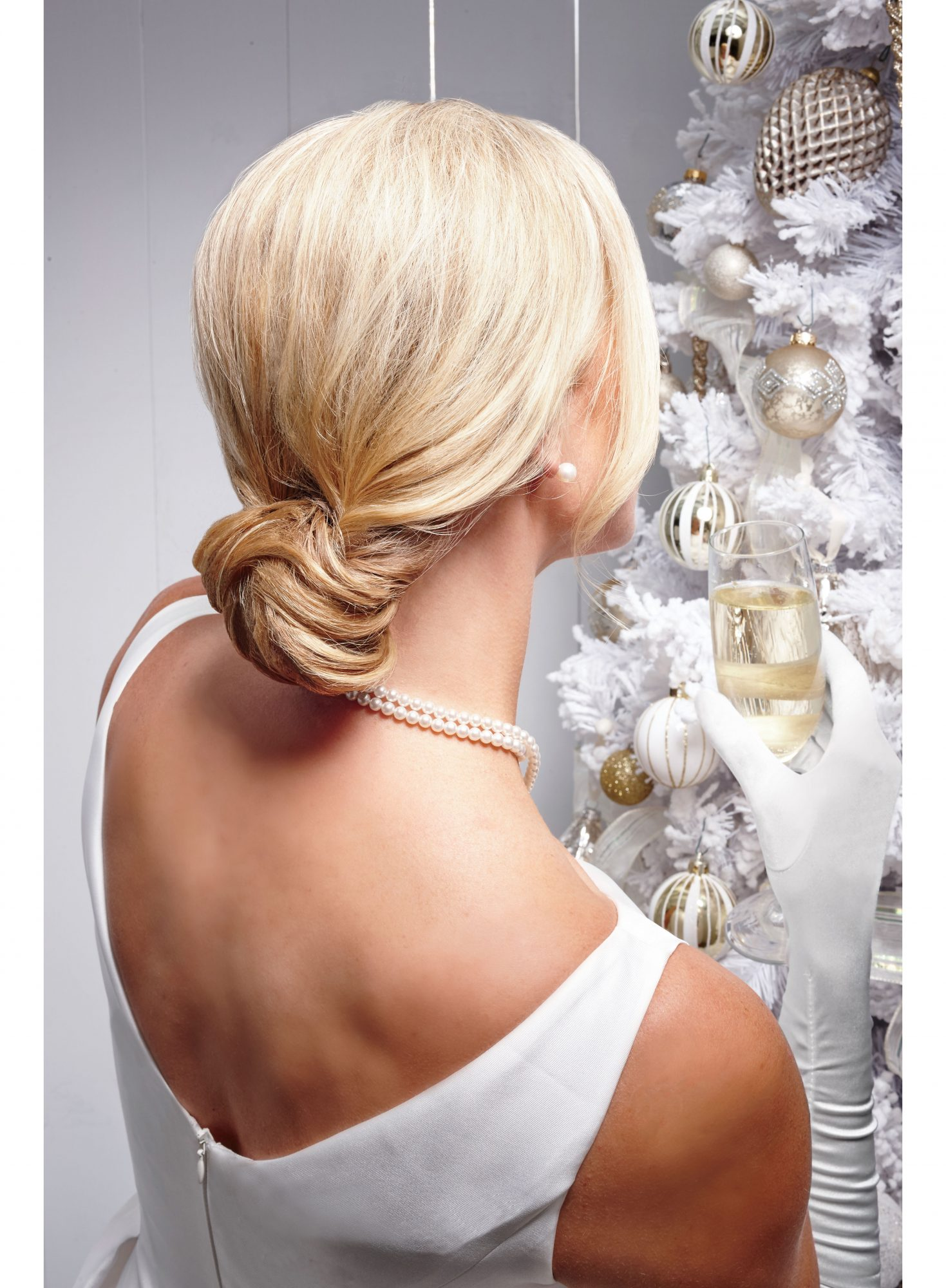 Blonde Woman with Chignon Updo