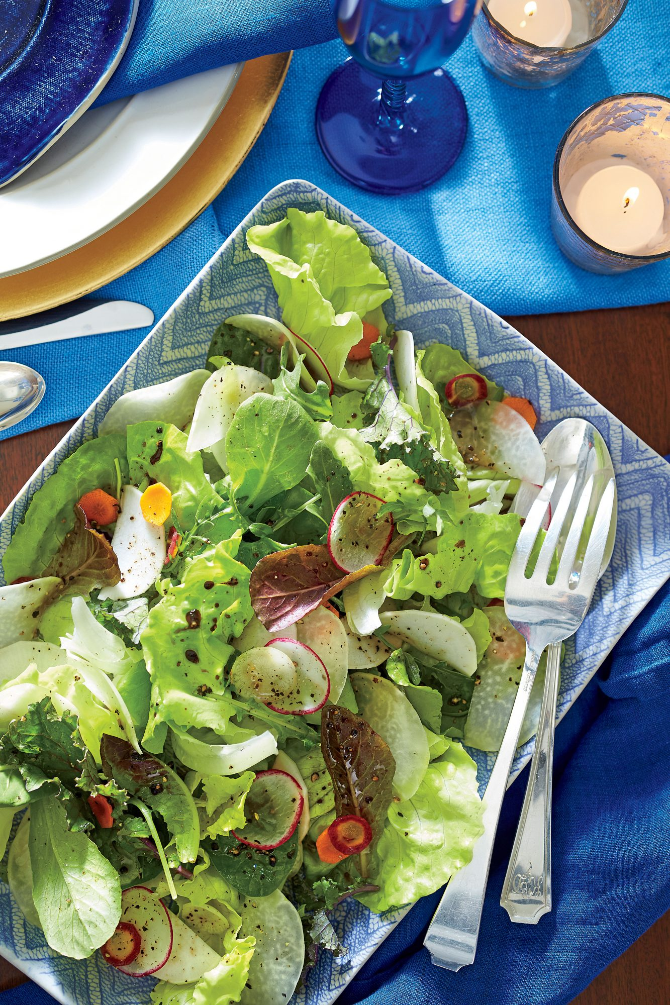 Young Lettuces and Shaved Winter Vegetables with Walnut Vinaigrette Recipe