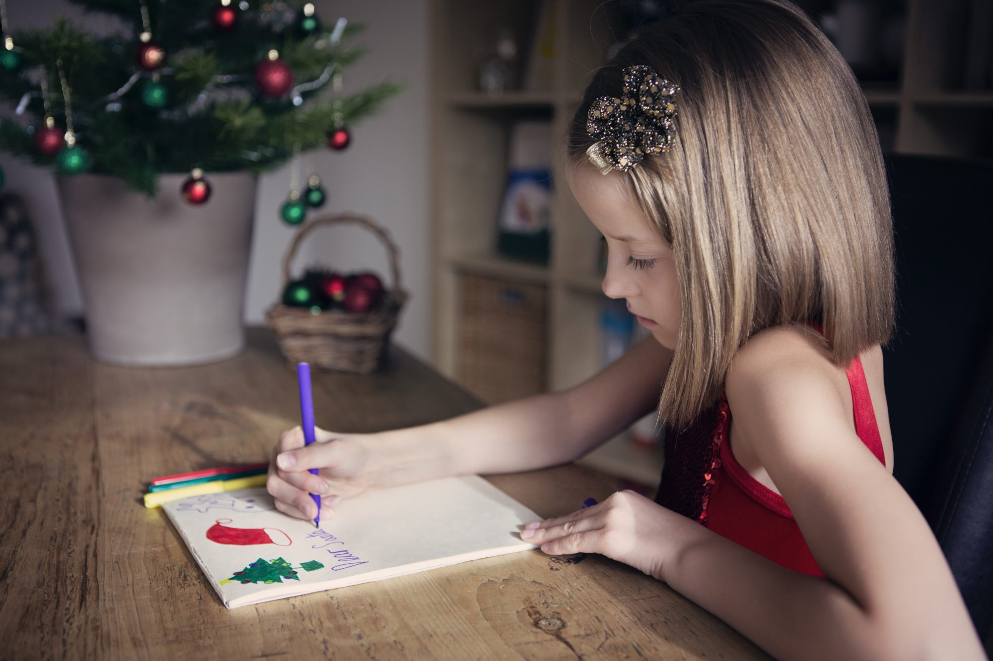 Girl Writing Letter to Santa