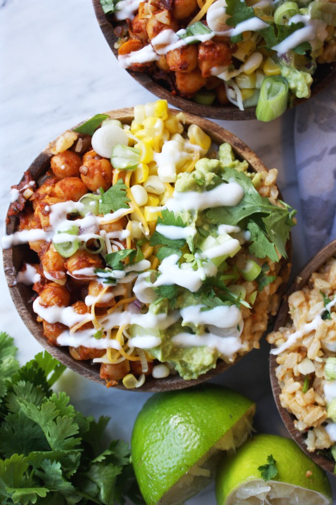 Spicy Chipotle Chickpea Burrito Bowls
