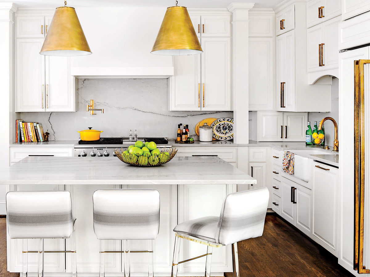 Bright White Kitchen with Brass Details