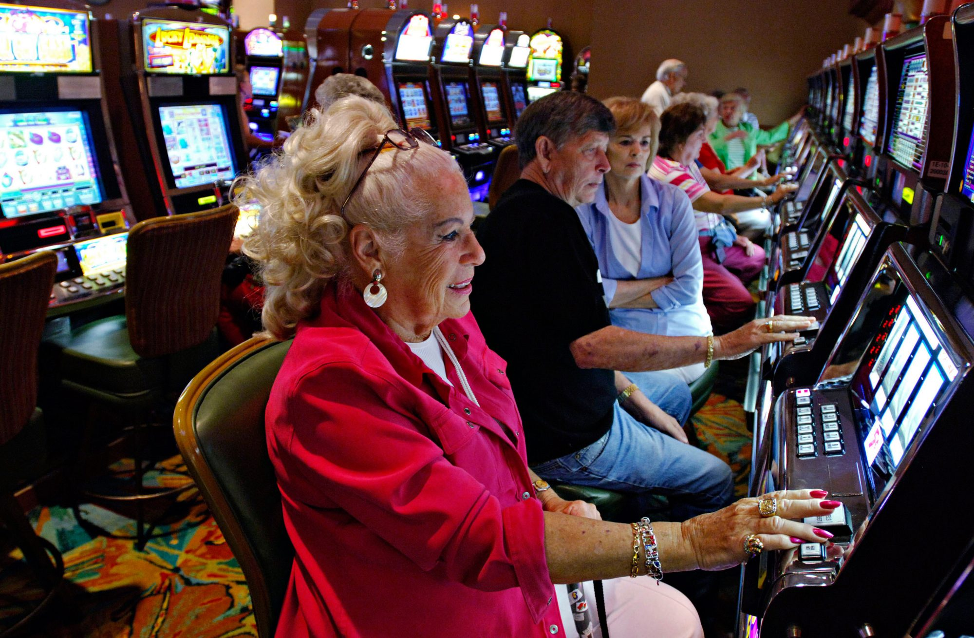 Woman Playing the Slots at Mississippi Casino