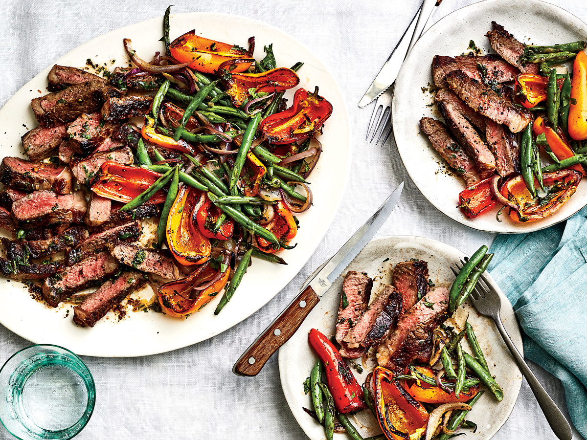Grilled Steak with Blistered Beans and Peppers