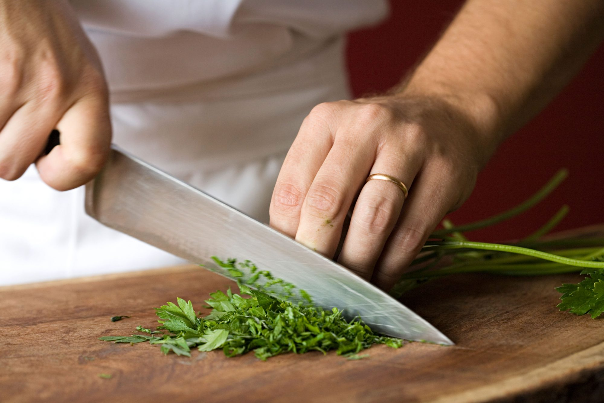 Chef Chopping Parsley Knife