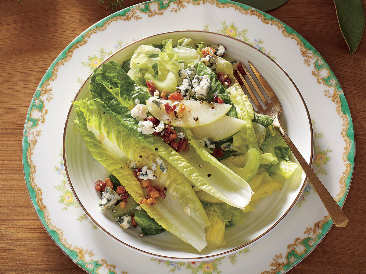 Apple, Celery, and Romaine Salad with Pancetta and Blue Cheese