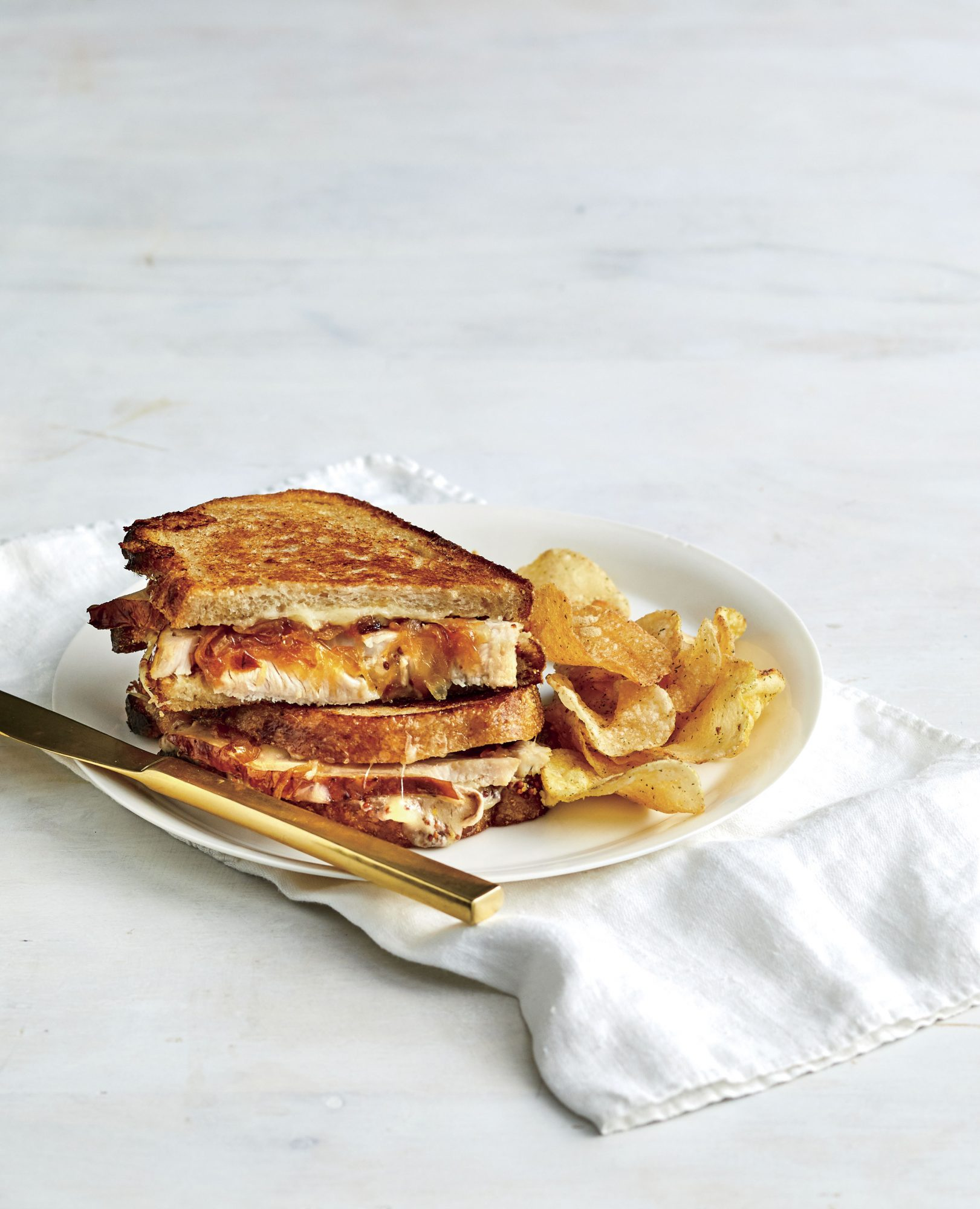 Turkey, Caramelized Onion, and Gruyère Grilled Cheese