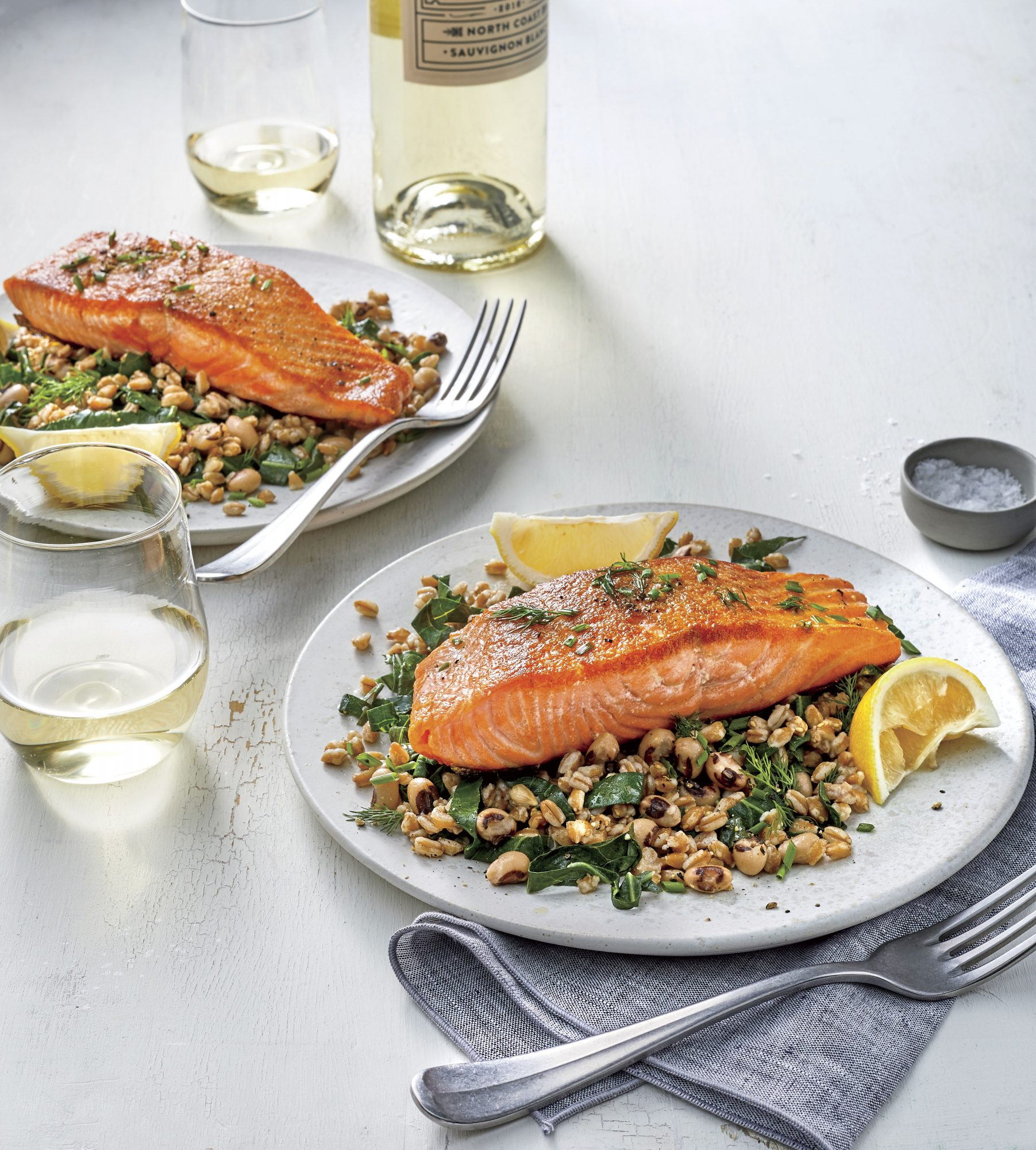 Salmon with Lemony Greens and Grains