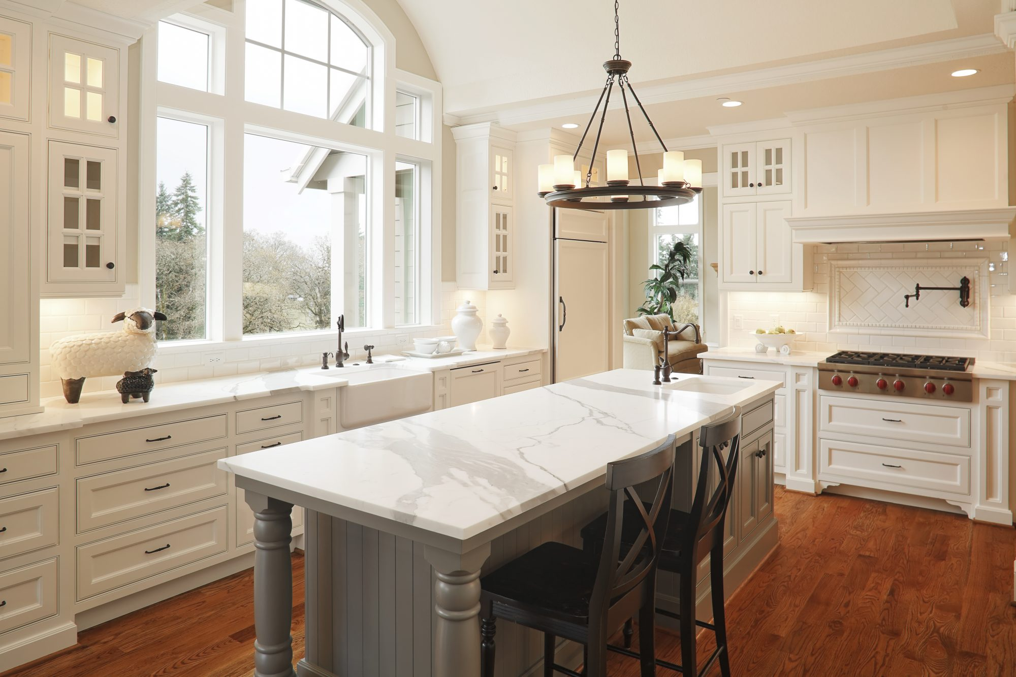 Kitchen with Veined Countertops