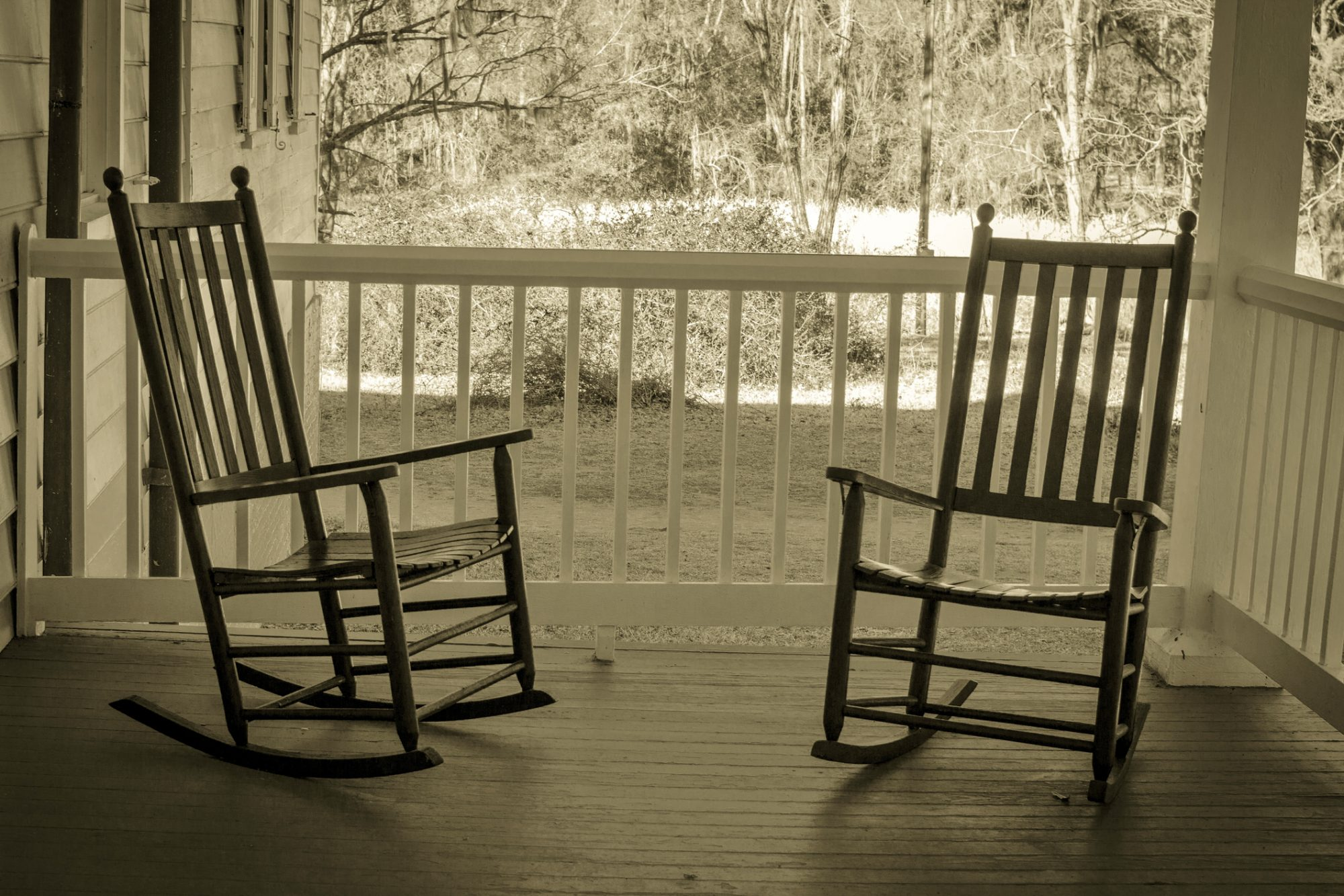 Old Rocking Chairs on Front Porch