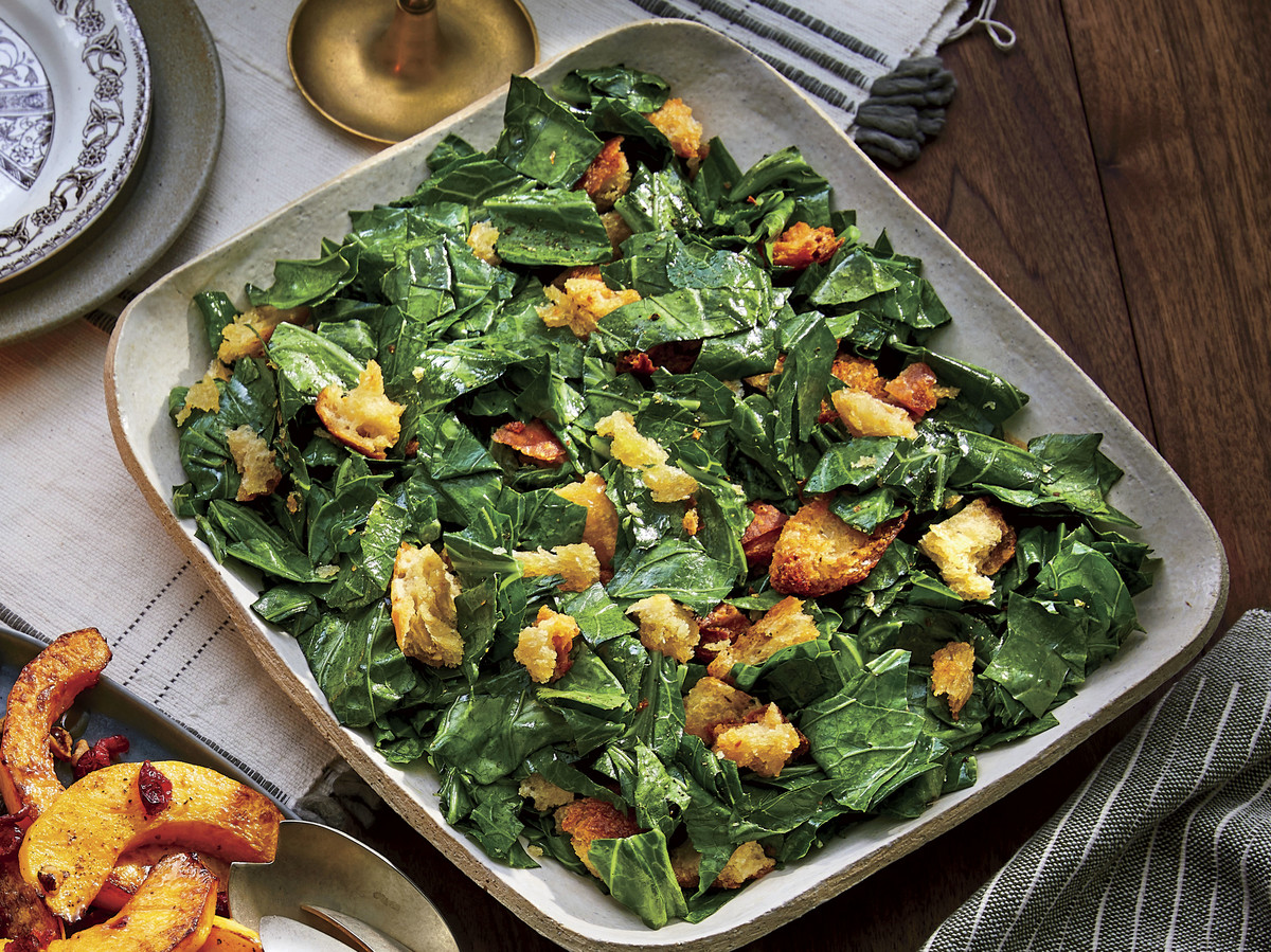 Collard Greens with Garlic and Sippets