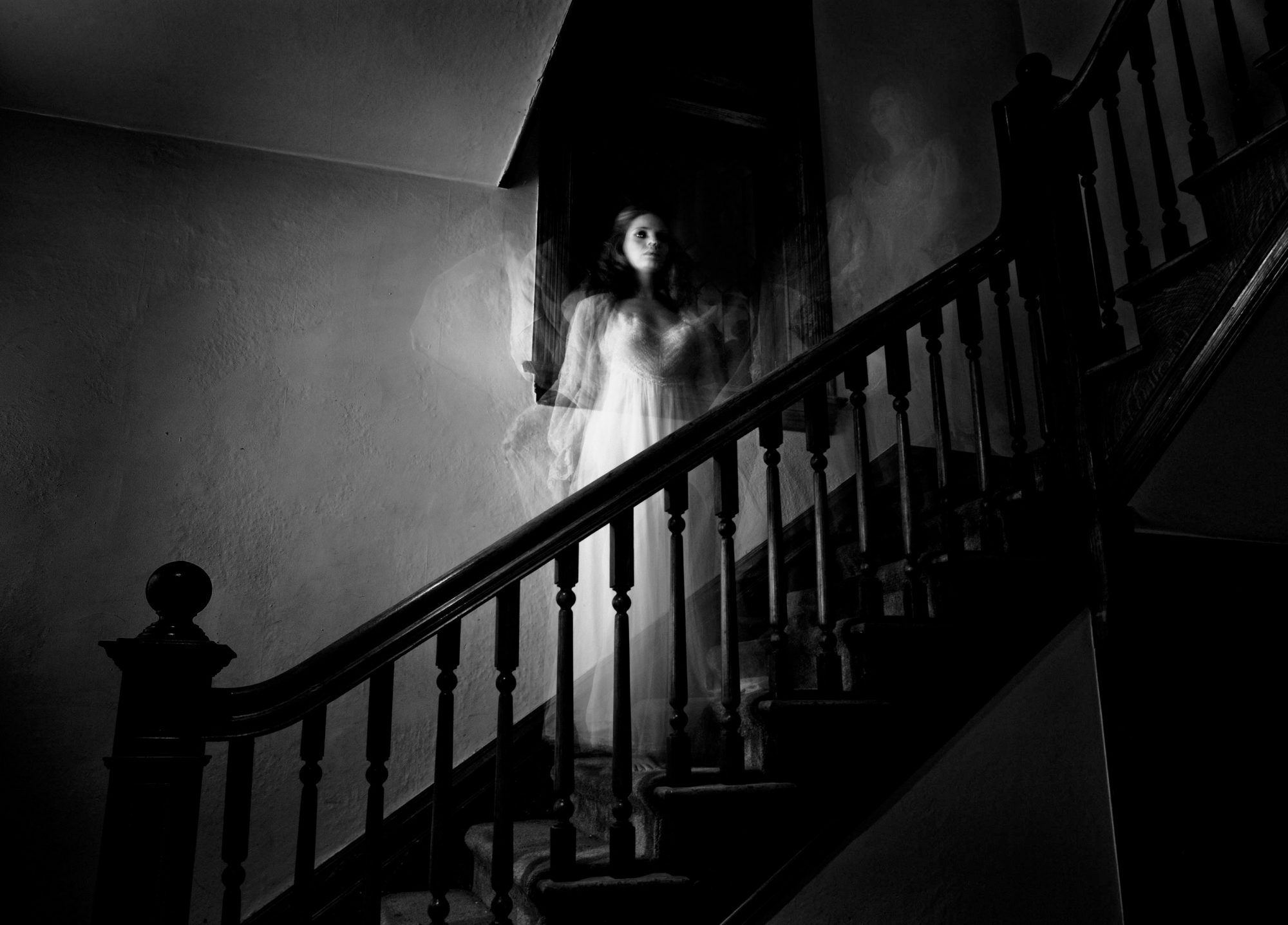 Ghost Woman Standing on Stairs