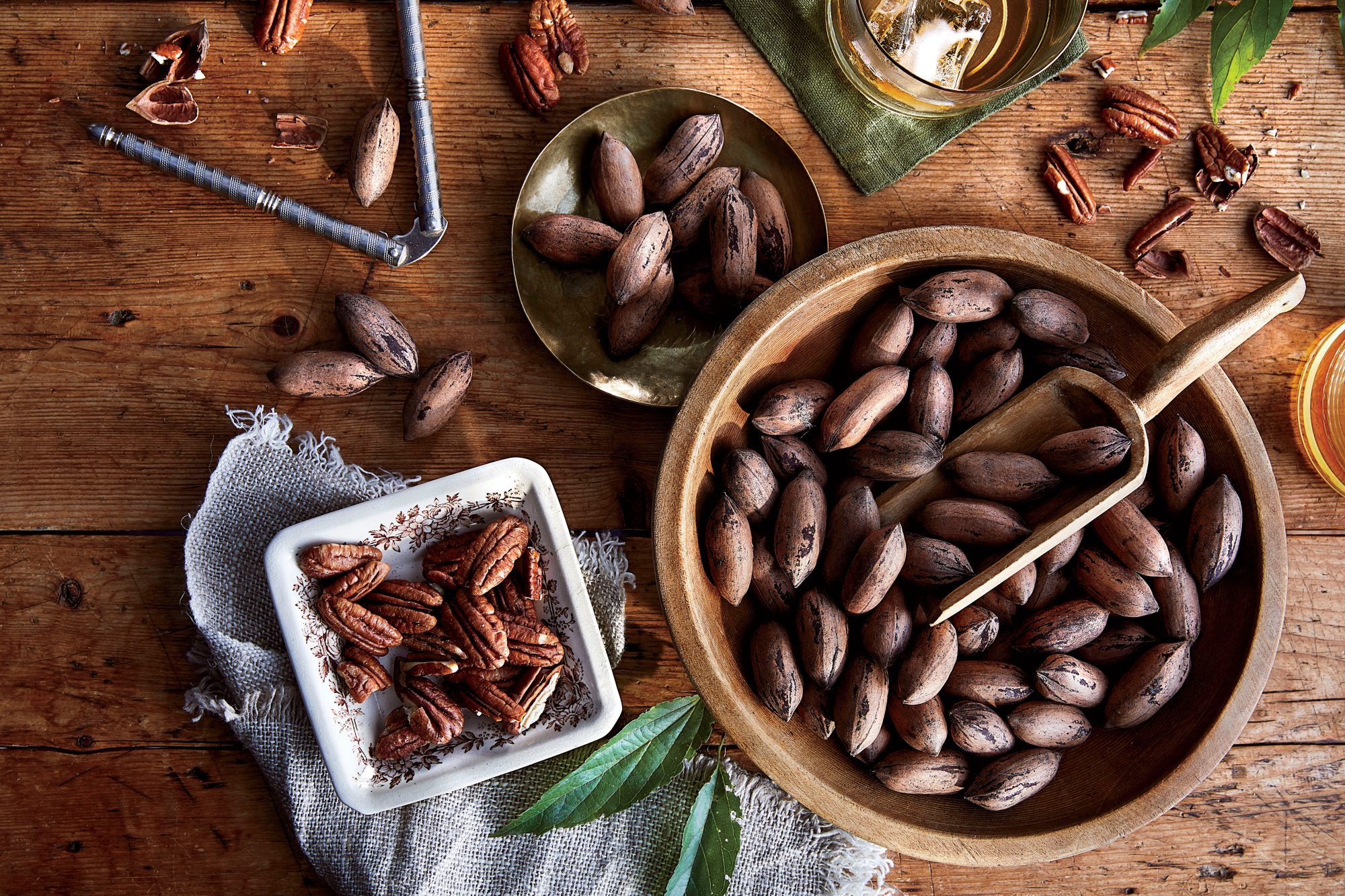 Bowl of Pecans Shelled and Unshelled