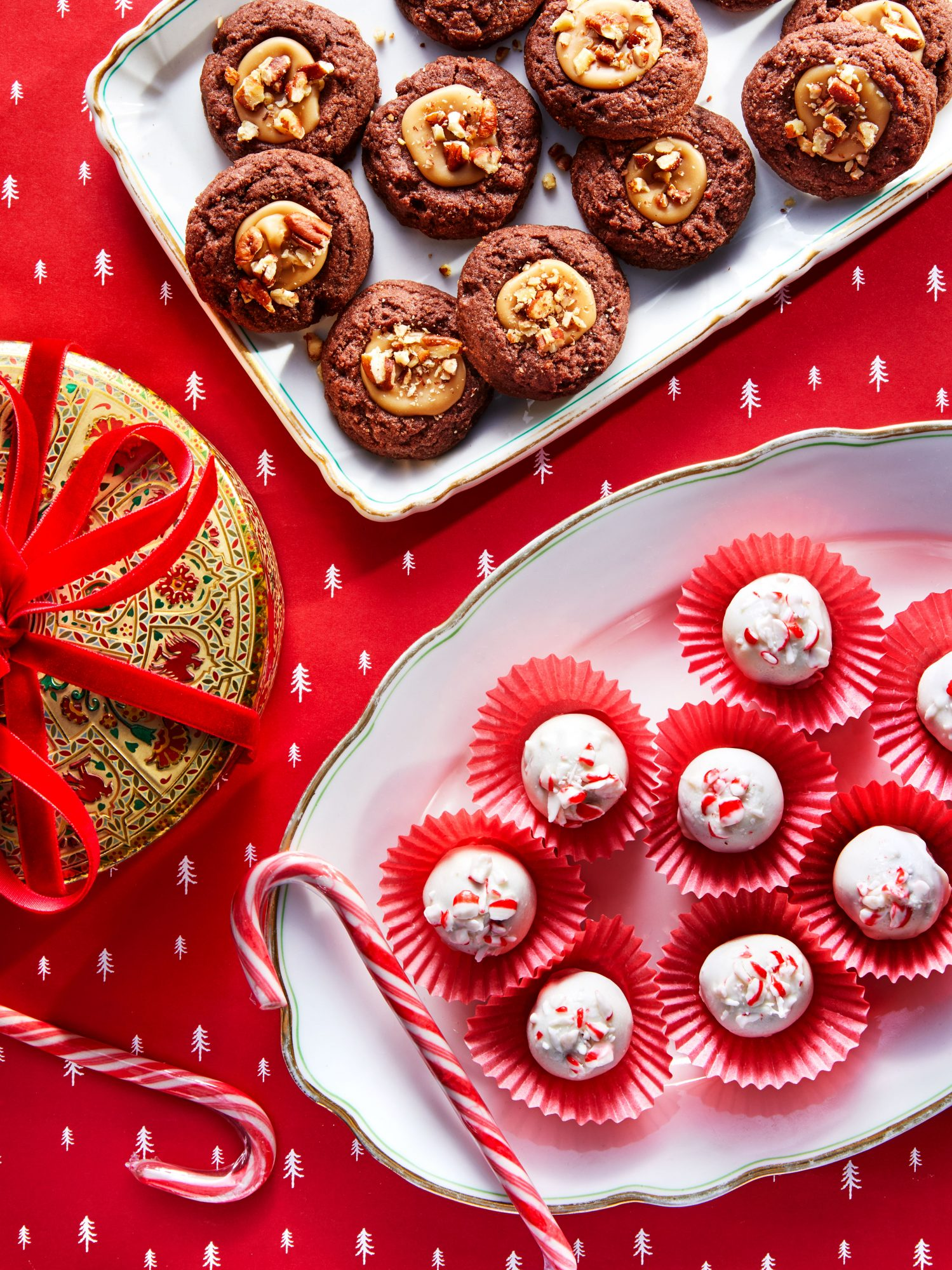 Chocolate Thumbprint Cookies with Praline Filling