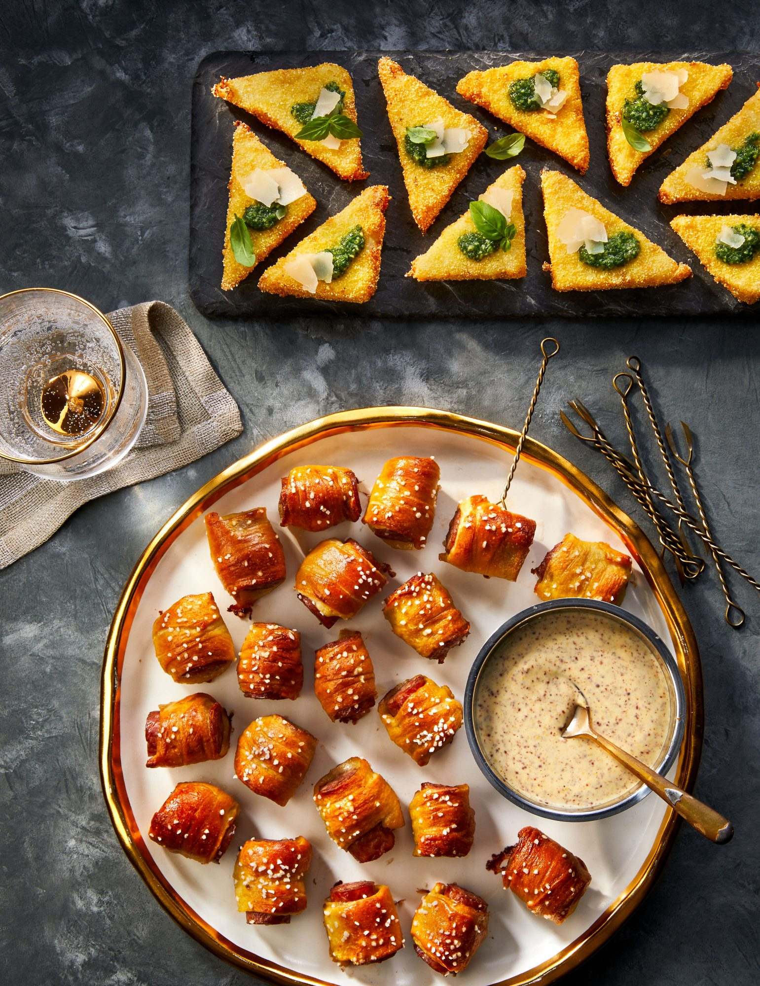 Parmesan Grits Triangles with Pesto