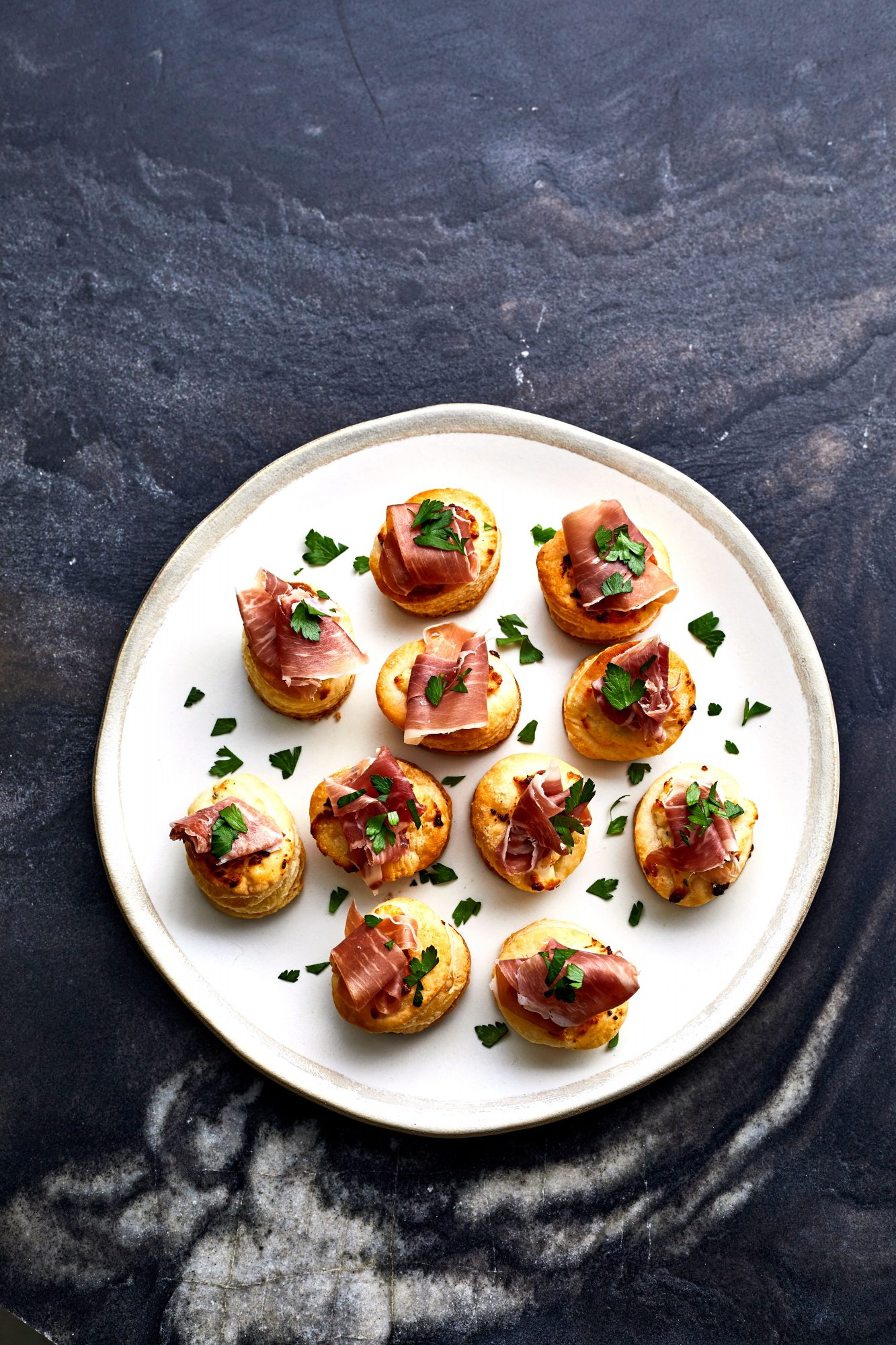 Cheesy Garlic-Herb-and-Ham Bites