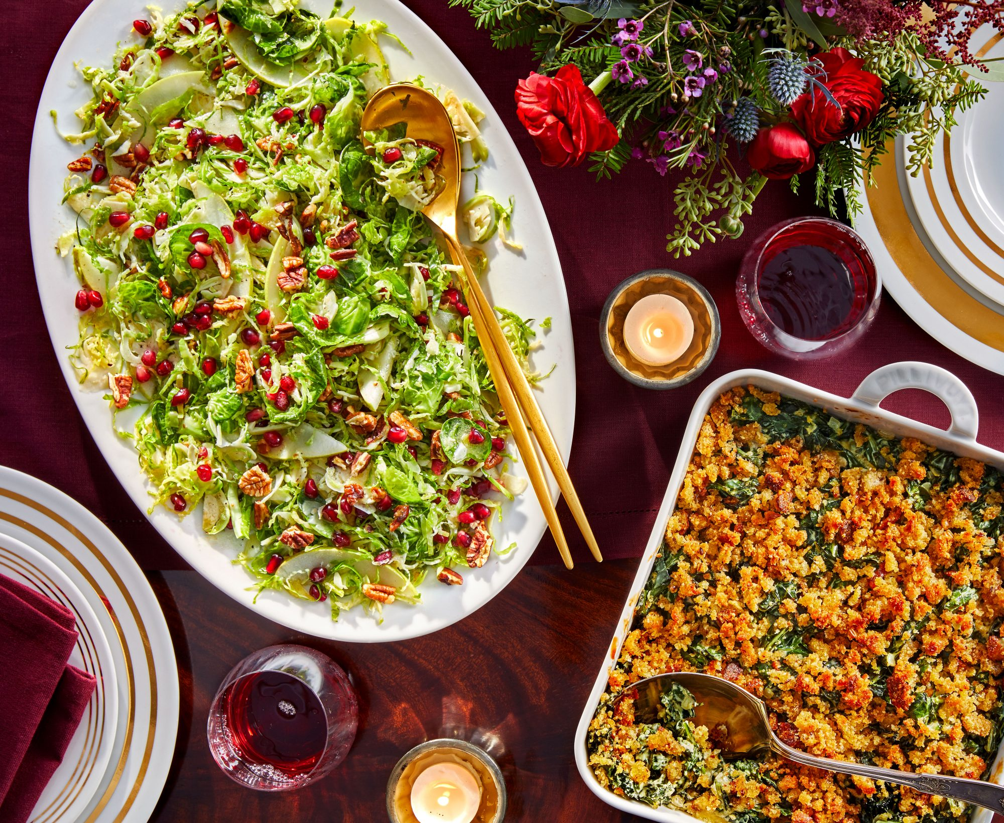 Brussels Sprout Slaw with Pecans and Pomegranate Seeds