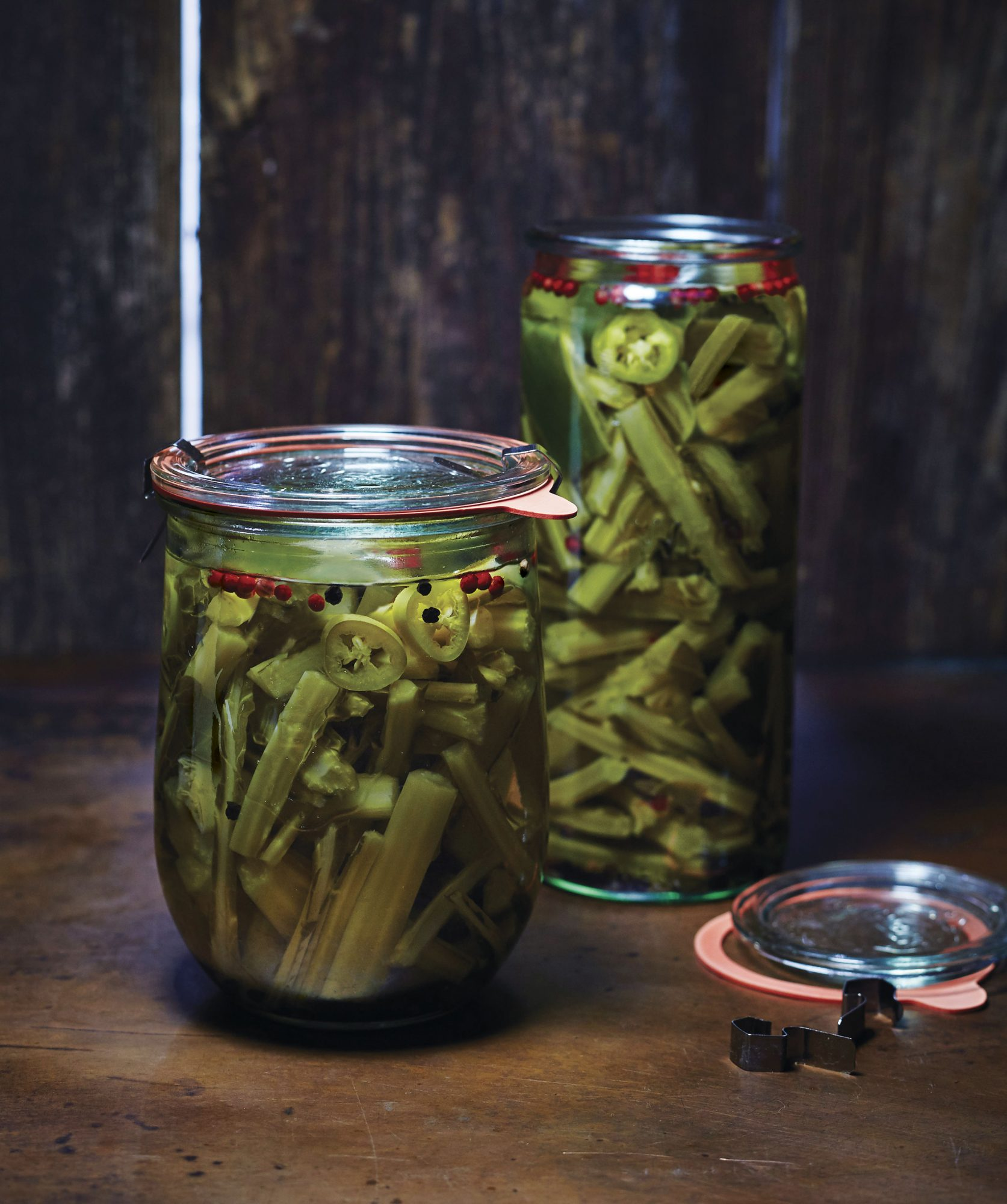 Pickled Collard Green Stems