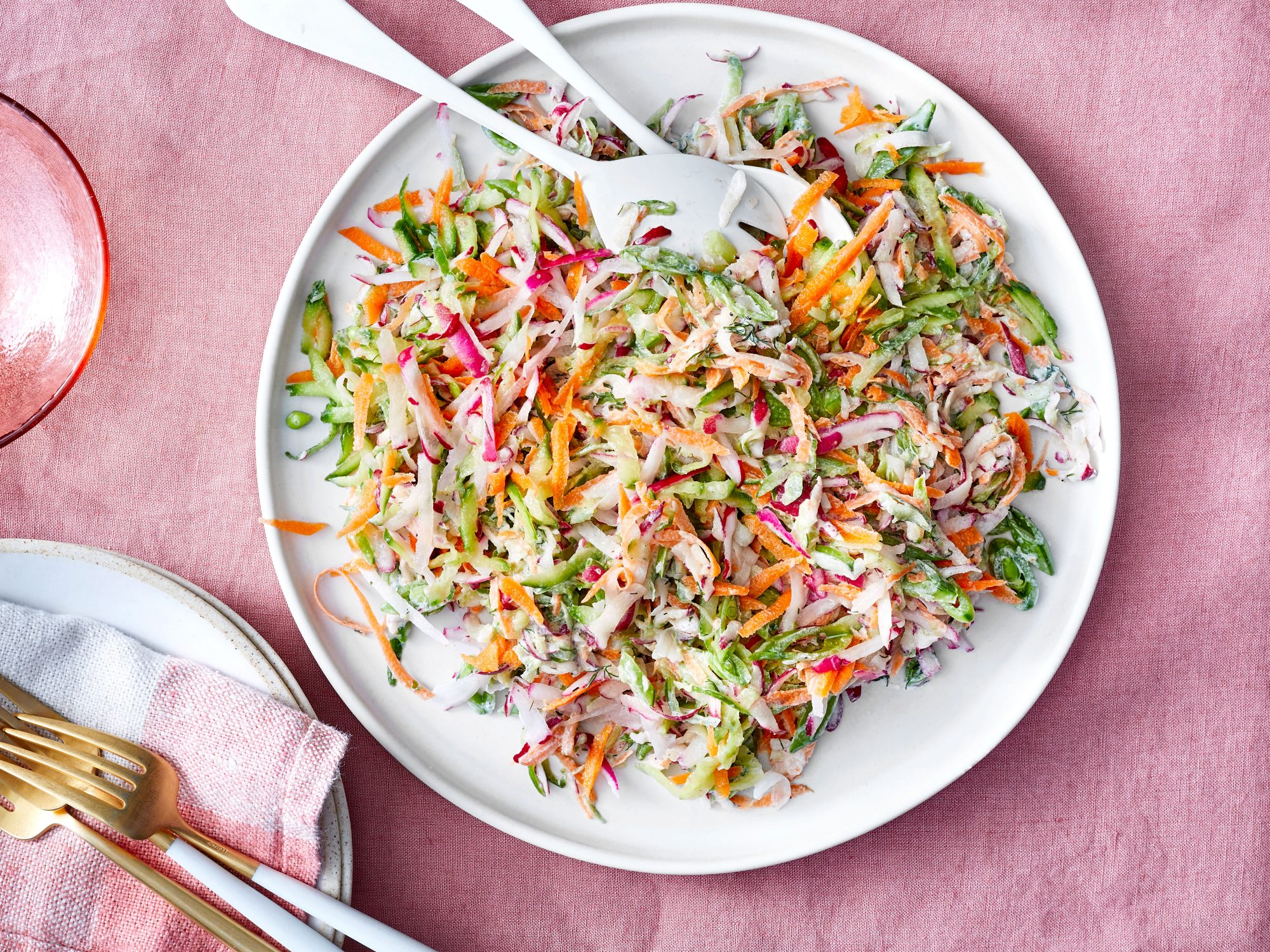 Creamy Spring Vegetable Slaw