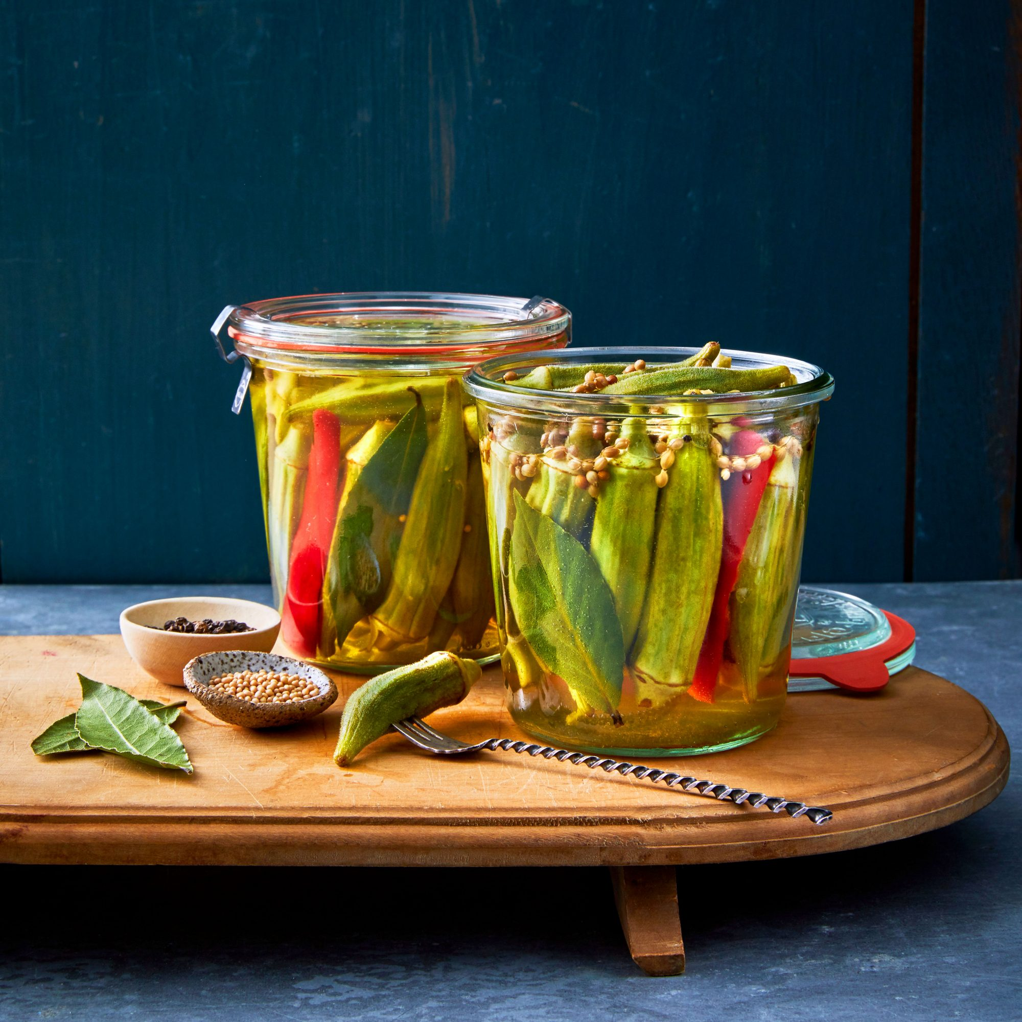 Bourbon-Brined Pickled Peppered Okra