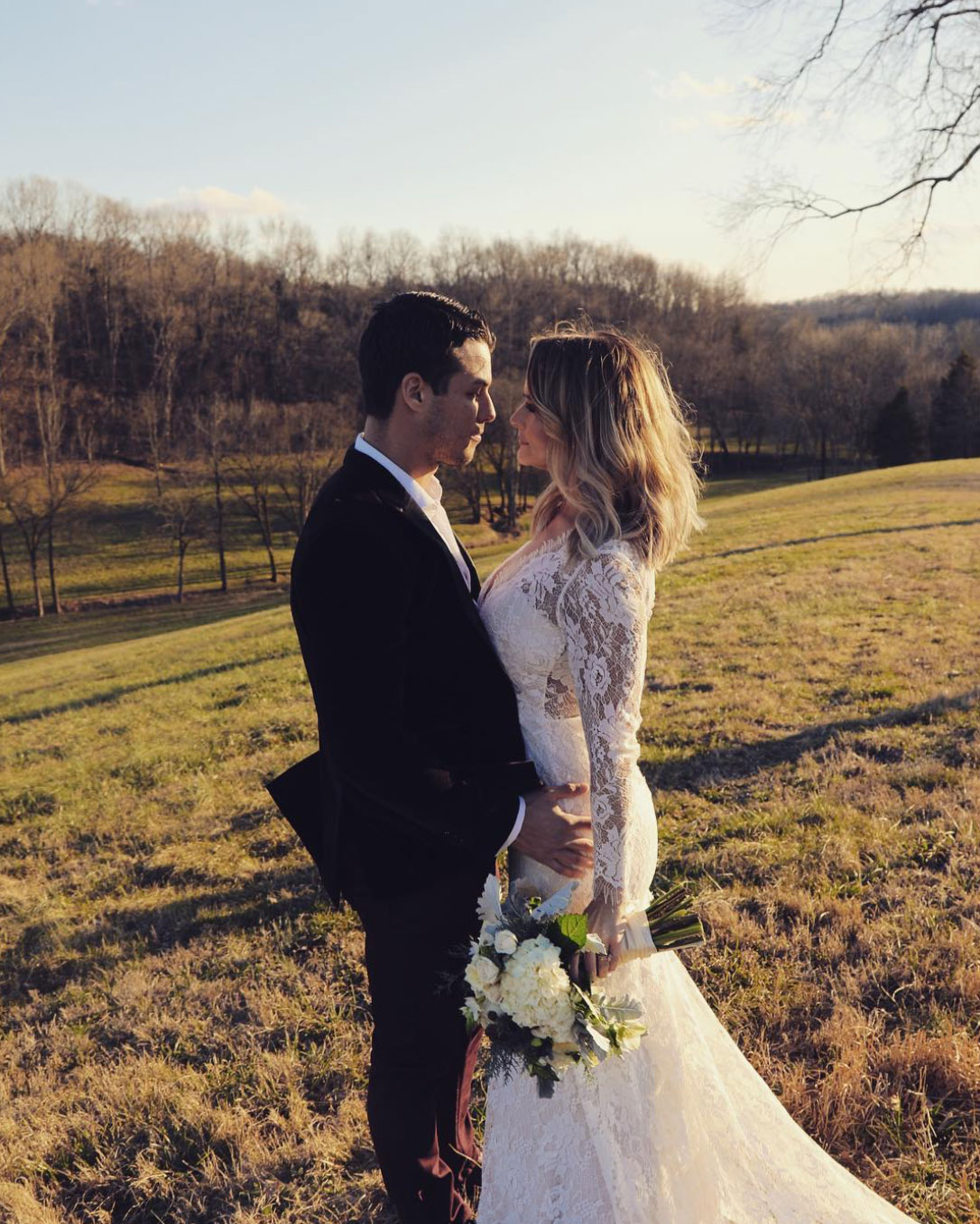 Miranda Lambert Wears Elegant Long-Sleeve Lace Dress to Marry Brendan McLoughlin